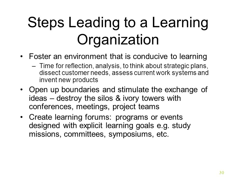 30 Steps Leading to a Learning Organization Foster an environment that is conducive to learning –Time for reflection, analysis, to think about strateg