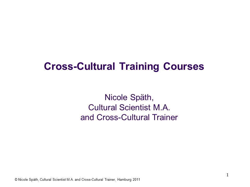 1 Cross-Cultural Training Courses Nicole Späth, Cultural Scientist M.A.