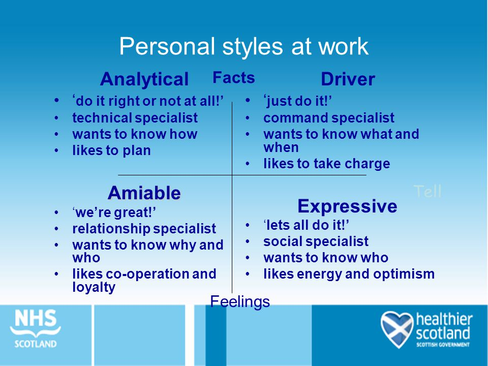 Personal styles at work Analytical ' do it right or not at all!' technical specialist wants to know how likes to planAmiable 'we're great!' relationsh