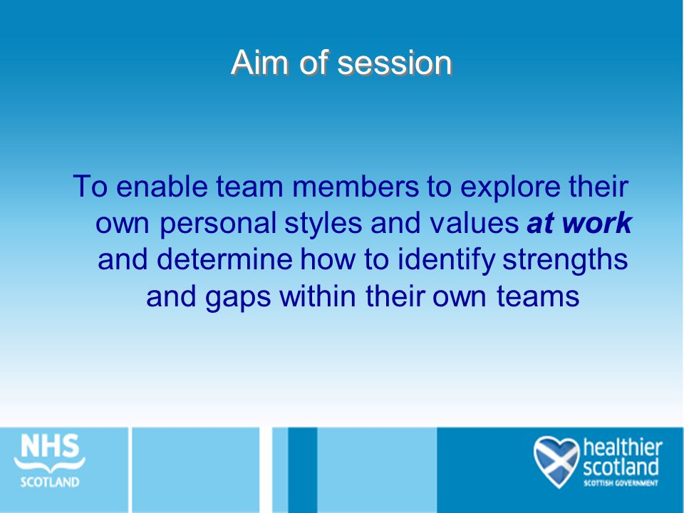 Aim of session To enable team members to explore their own personal styles and values at work and determine how to identify strengths and gaps within