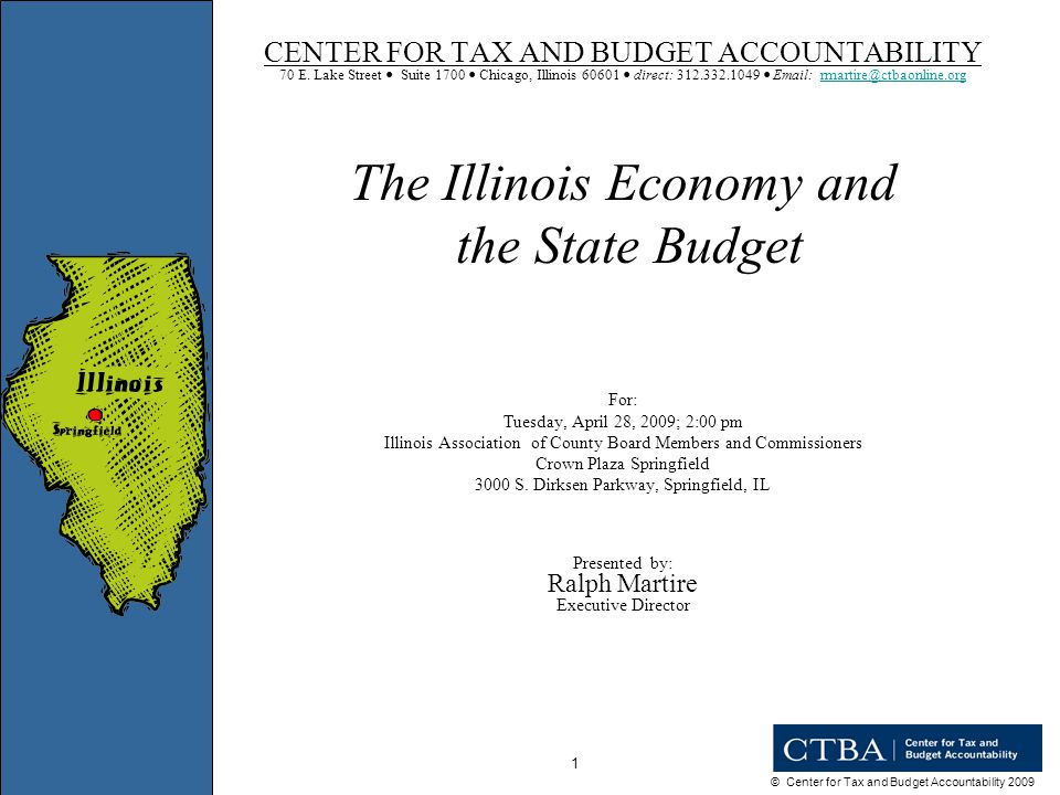 © Center for Tax and Budget Accountability 2009 42 STRUCTURAL DEFICIT *Adjusts solely for historic rates of inflation and population growth, and assumes normal economic growth.
