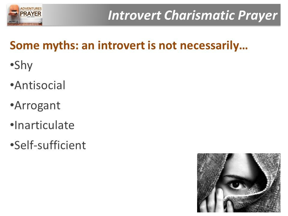 Some myths: an introvert is not necessarily… Shy Antisocial Arrogant Inarticulate Self-sufficient