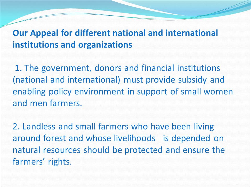 Our Appeal for different national and international institutions and organizations 1.