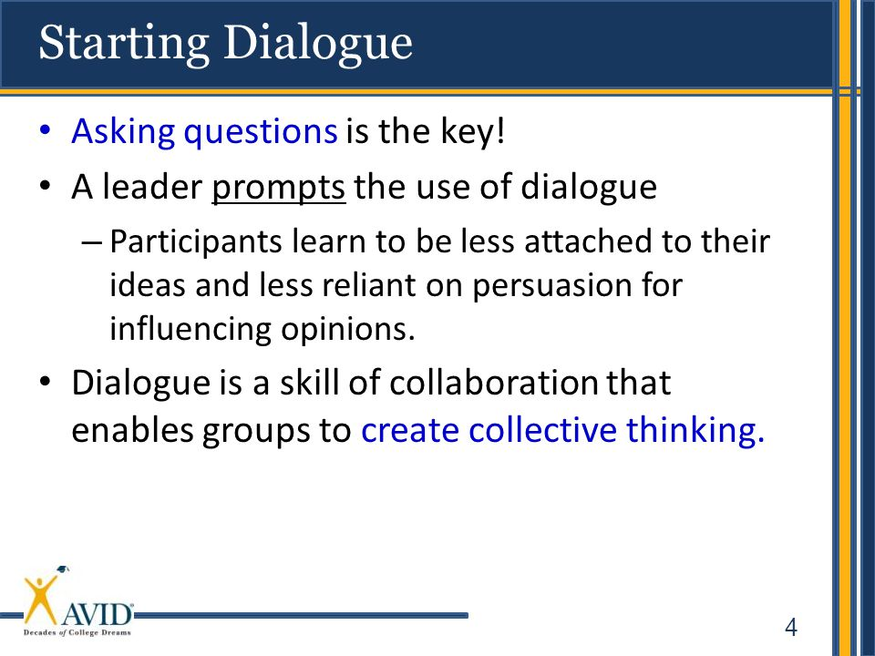 4 Starting Dialogue Asking questions is the key.