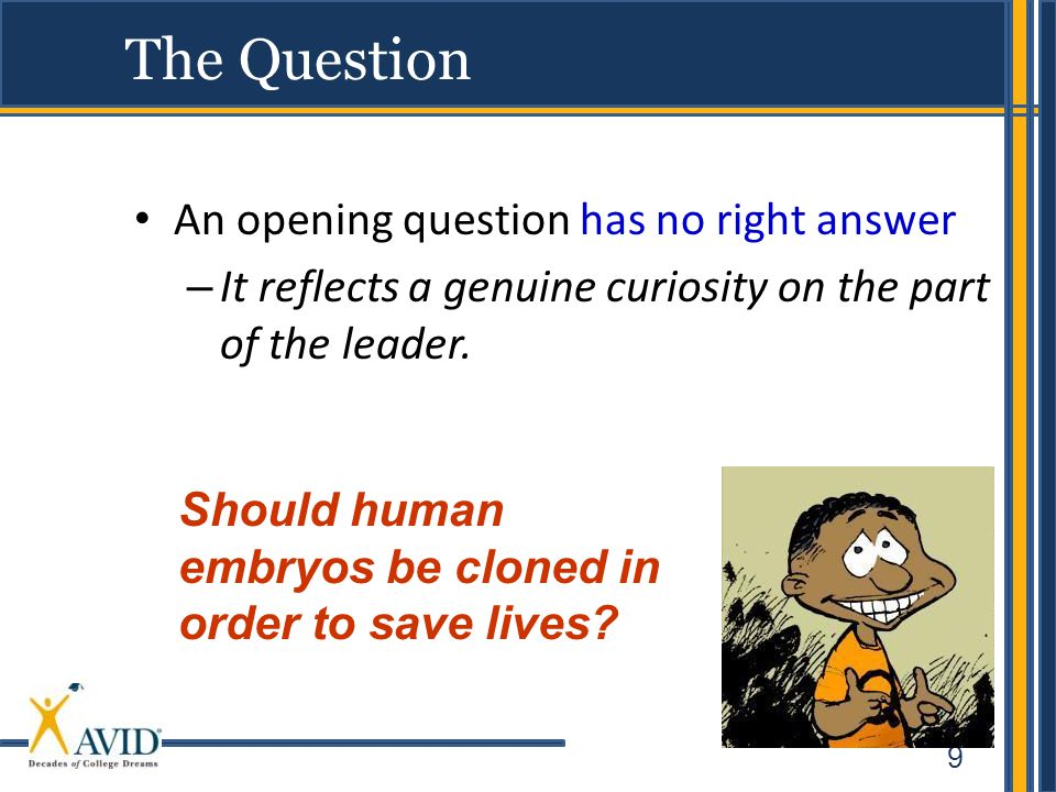 9 The Question An opening question has no right answer – It reflects a genuine curiosity on the part of the leader.