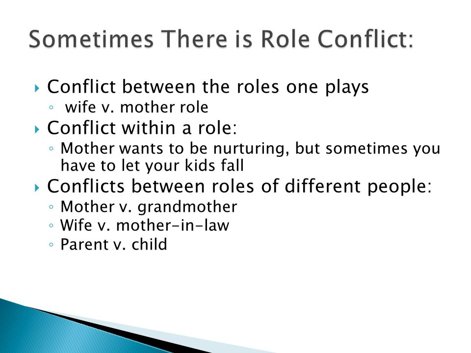  Conflict between the roles one plays ◦ wife v.