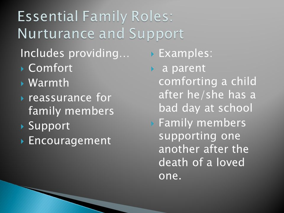 Includes providing…  Comfort  Warmth  reassurance for family members  Support  Encouragement  Examples:  a parent comforting a child after he/she has a bad day at school  Family members supporting one another after the death of a loved one.