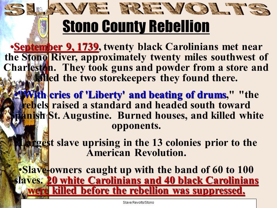 September 9, 1739September 9, 1739, twenty black Carolinians met near the Stono River, approximately twenty miles southwest of Charleston. They took g