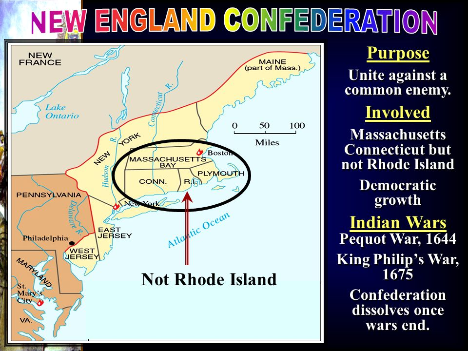 Purpose Unite against a common enemy. Involved Massachusetts Connecticut but not Rhode Island Democratic growth Indian Wars Pequot War, 1644 King Phil