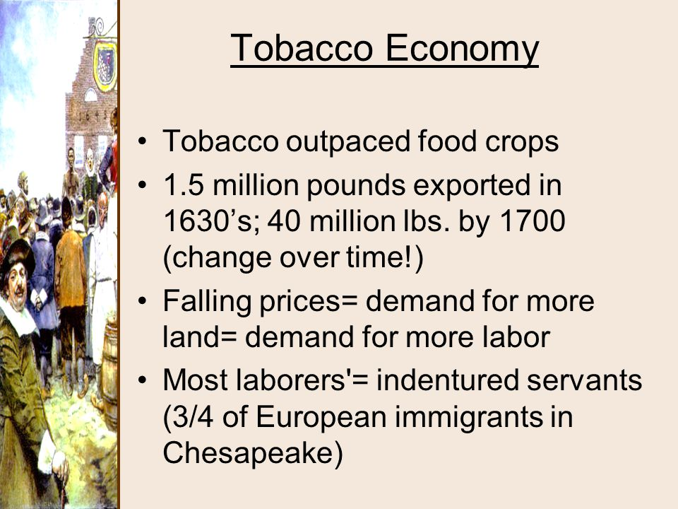 Tobacco Economy Tobacco outpaced food crops 1.5 million pounds exported in 1630's; 40 million lbs. by 1700 (change over time!) Falling prices= demand