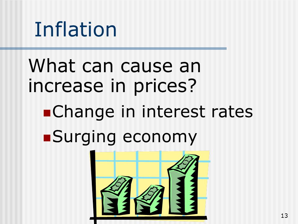 12 Inflation Inflation - When Prices Increase A dollar cannot buy as much as it used to