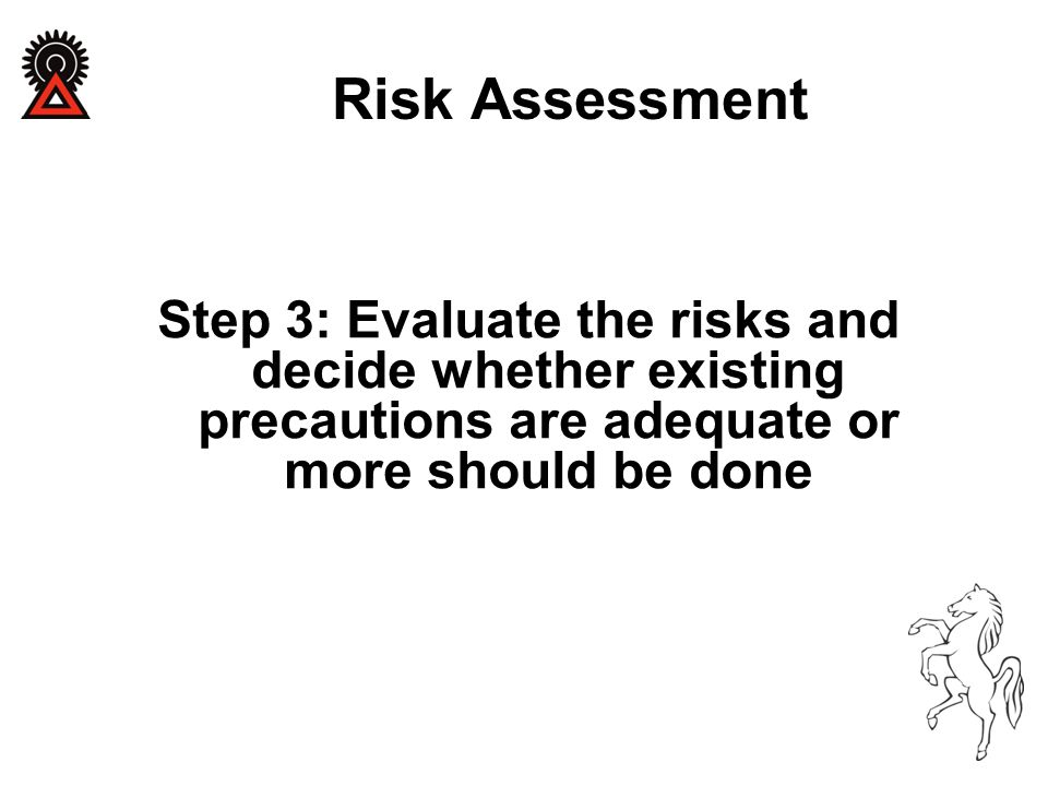 Step 3: Evaluate the risks and decide whether existing precautions are adequate or more should be done Risk Assessment