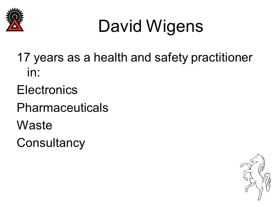 17 years as a health and safety practitioner in: Electronics Pharmaceuticals Waste Consultancy