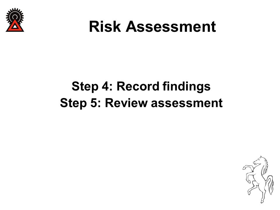 Step 4: Record findings Step 5: Review assessment Risk Assessment