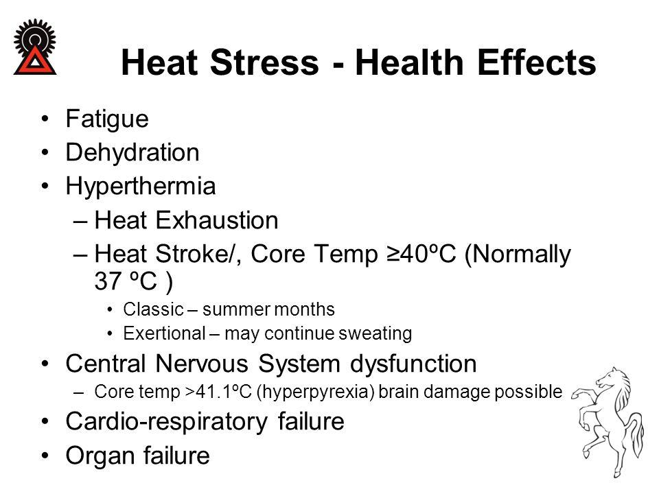 Heat Stress - Health Effects Fatigue Dehydration Hyperthermia –Heat Exhaustion –Heat Stroke/, Core Temp ≥40ºC (Normally 37 ºC ) Classic – summer month