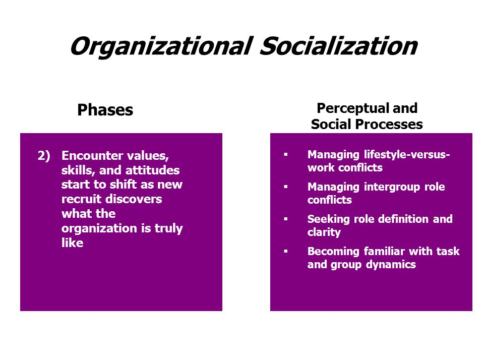 Organizational Socialization Phases Perceptual and Social Processes 2)Encounter values, skills, and attitudes start to shift as new recruit discovers