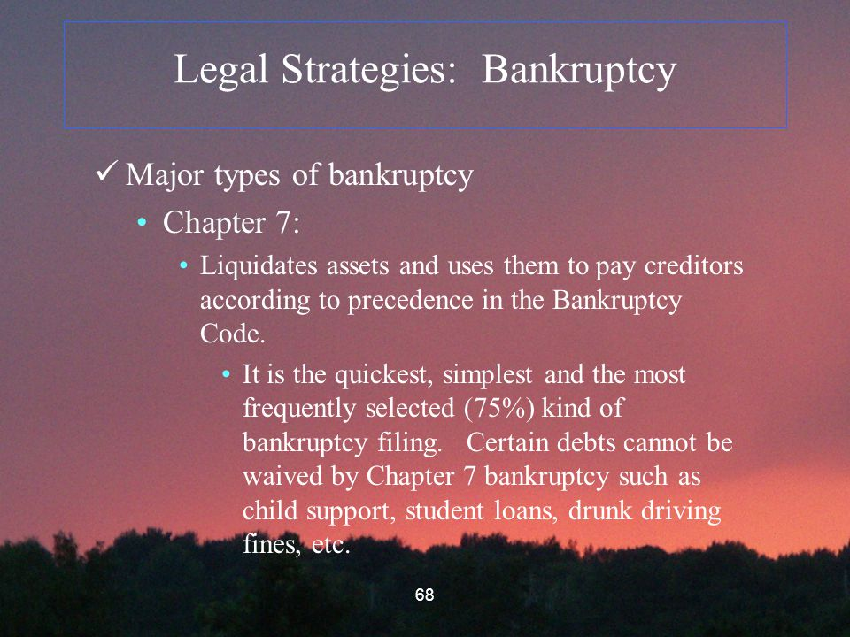 68 Legal Strategies: Bankruptcy Major types of bankruptcy Chapter 7: Liquidates assets and uses them to pay creditors according to precedence in the Bankruptcy Code.