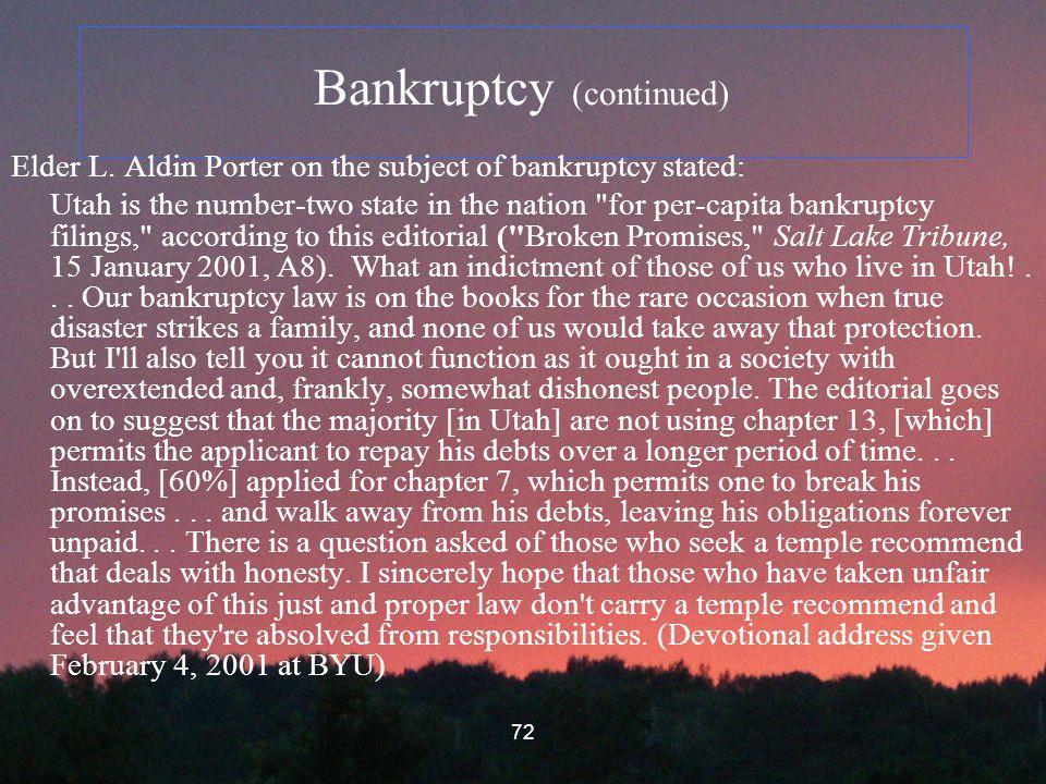 72 Bankruptcy (continued) Elder L.