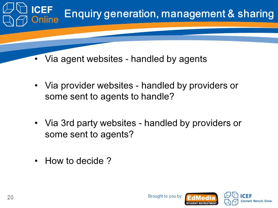 Brought to you by 20 Enquiry generation, management & sharing Via agent websites - handled by agents Via provider websites - handled by providers or some sent to agents to handle.