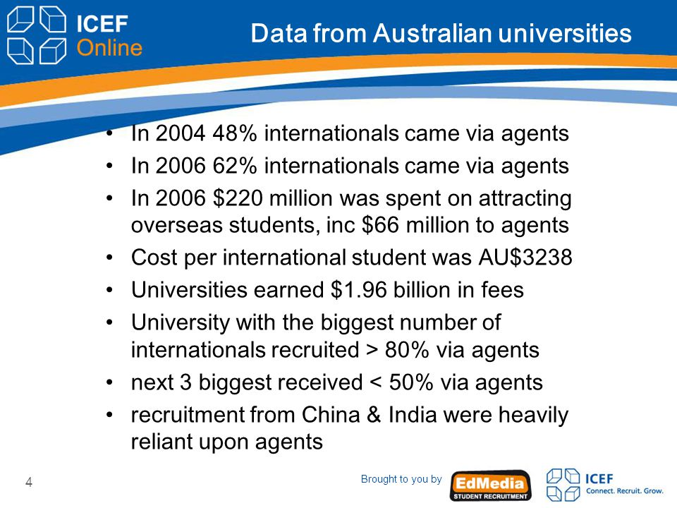 Brought to you by 4 Data from Australian universities In 2004 48% internationals came via agents In 2006 62% internationals came via agents In 2006 $220 million was spent on attracting overseas students, inc $66 million to agents Cost per international student was AU$3238 Universities earned $1.96 billion in fees University with the biggest number of internationals recruited > 80% via agents next 3 biggest received < 50% via agents recruitment from China & India were heavily reliant upon agents