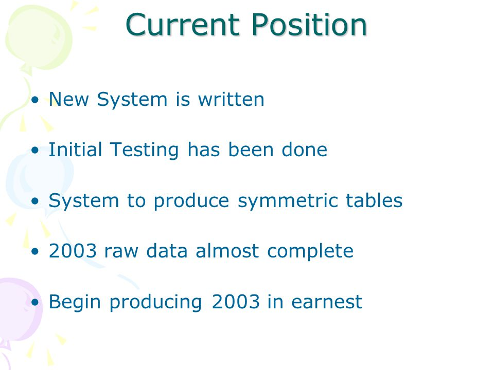 Current Position New System is written Initial Testing has been done System to produce symmetric tables 2003 raw data almost complete Begin producing 2003 in earnest