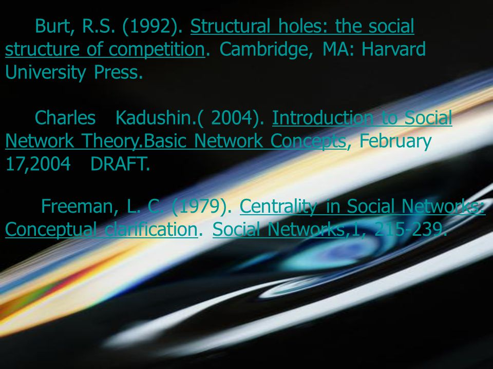 5/1/2015choomsak30 Burt, R.S. (1992). Structural holes: the social structure of competition.