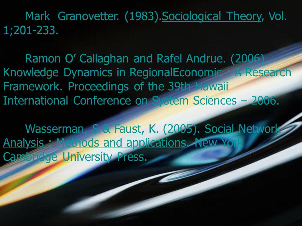 5/1/2015choomsak31 Mark Granovetter. (1983).Sociological Theory, Vol.