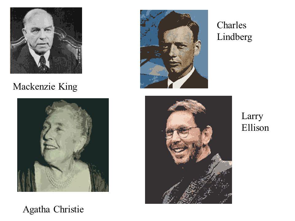 Mackenzie King Charles Lindberg Agatha Christie Larry Ellison