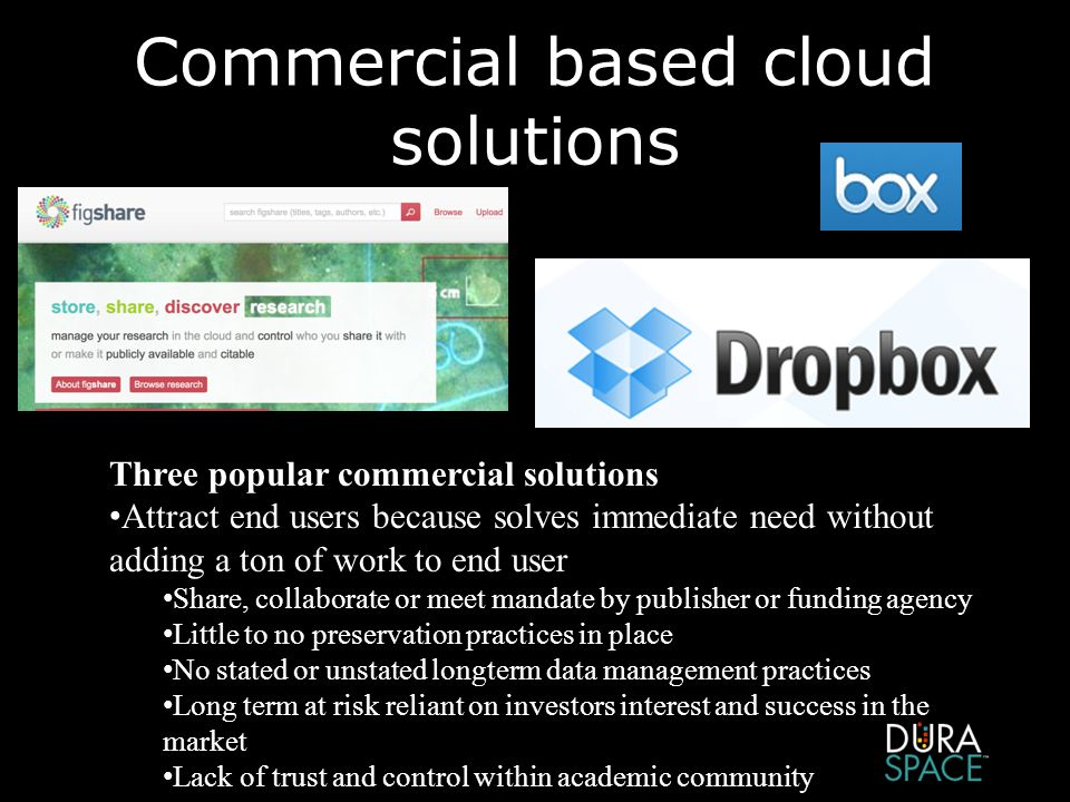 Commercial based cloud solutions Three popular commercial solutions Attract end users because solves immediate need without adding a ton of work to end user Share, collaborate or meet mandate by publisher or funding agency Little to no preservation practices in place No stated or unstated longterm data management practices Long term at risk reliant on investors interest and success in the market Lack of trust and control within academic community