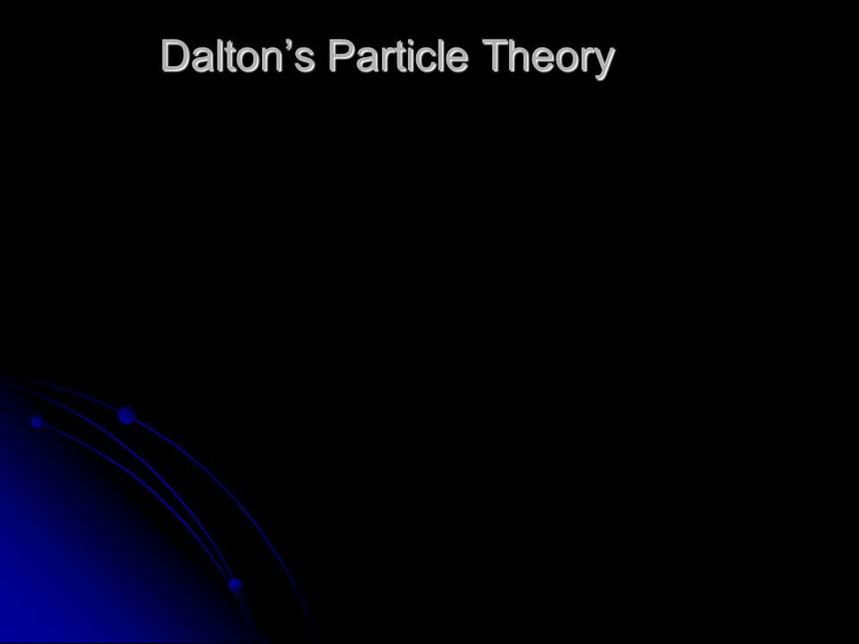 Dalton's Particle Theory