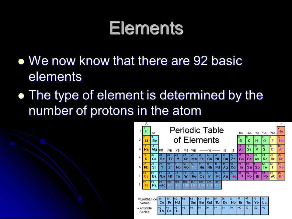 Elements We now know that there are 92 basic elements We now know that there are 92 basic elements The type of element is determined by the number of protons in the atom The type of element is determined by the number of protons in the atom