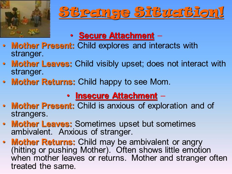 Strange Situation! Strange Situation! Secure AttachmentSecure Attachment – Mother Present:Mother Present: Child explores and interacts with stranger.