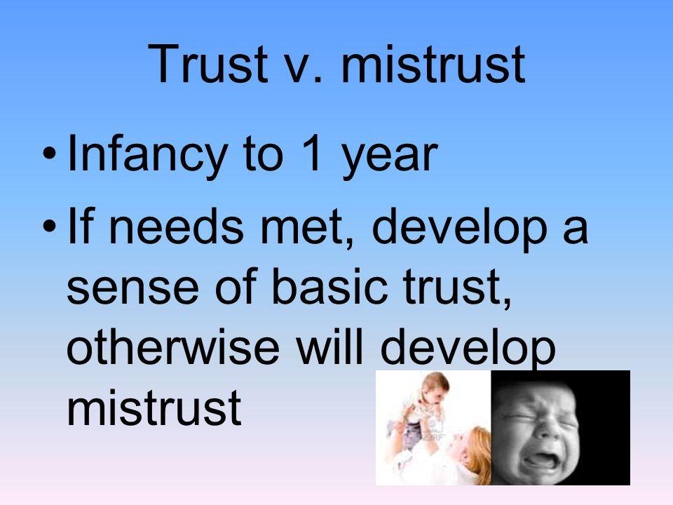Trust v. mistrust Infancy to 1 year If needs met, develop a sense of basic trust, otherwise will develop mistrust