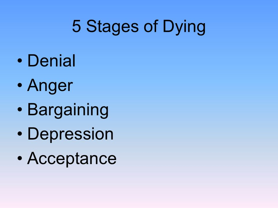 5 Stages of Dying Denial Anger Bargaining Depression Acceptance
