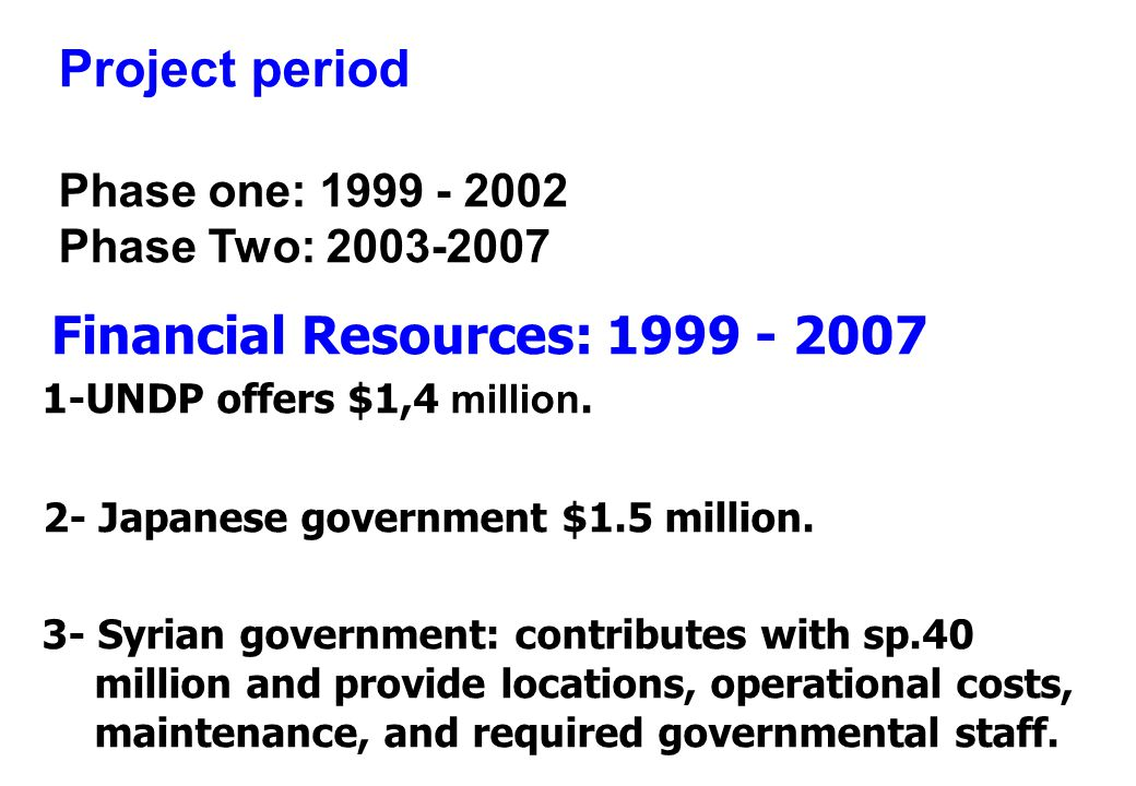 Project period Phase one: 1999 - 2002 Phase Two: 2003-2007 1-UNDP offers $1,4 m illion.