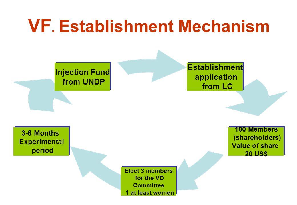 VF. Establishment Mechanism Establishment application from LC 100 Members (shareholders) Value of share 20 US$ Elect 3 members for the VD Committee 1