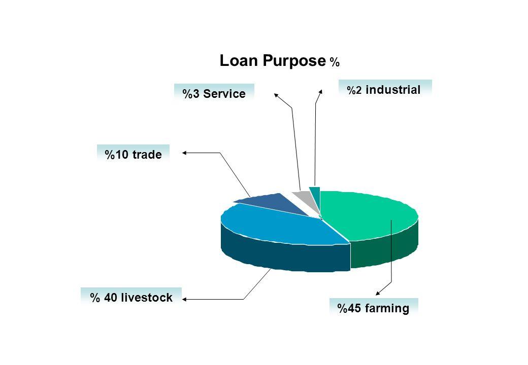 % Loan Purpose %45 farming %2 industrial %3 Service %10 trade % 40 livestock