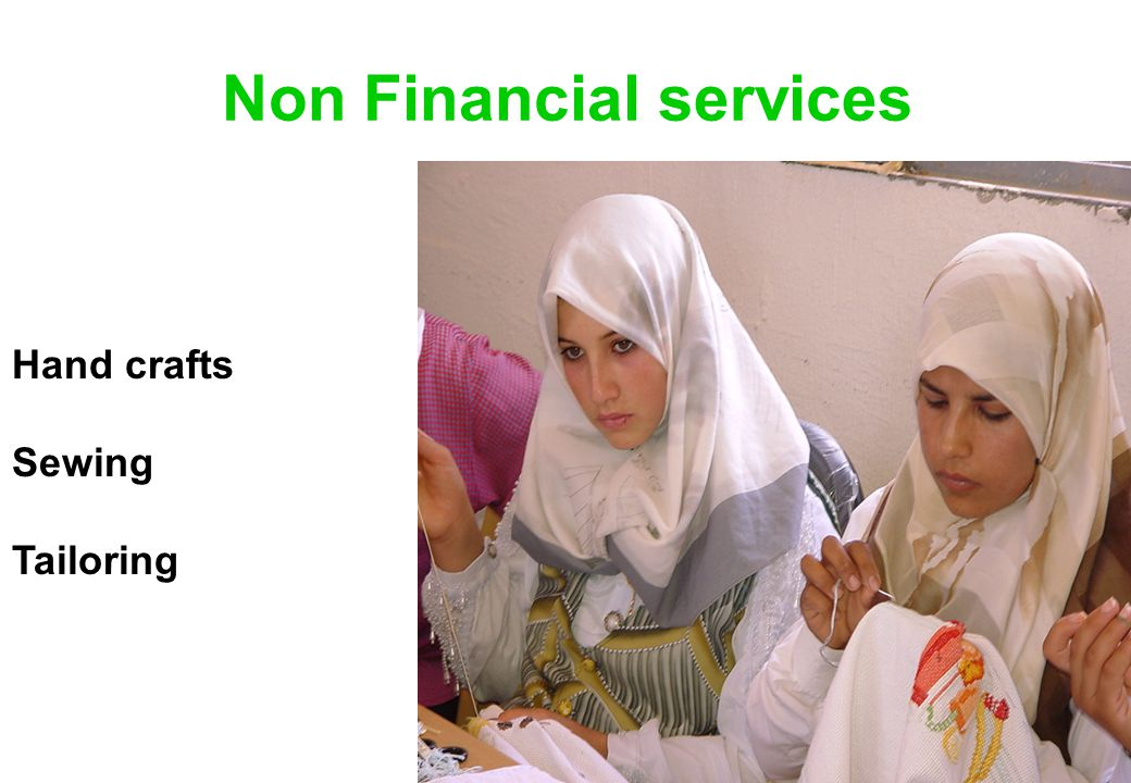 Non Financial services Hand crafts Sewing Tailoring