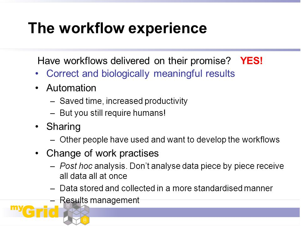 The workflow experience Correct and biologically meaningful results Automation –Saved time, increased productivity –But you still require humans! Shar