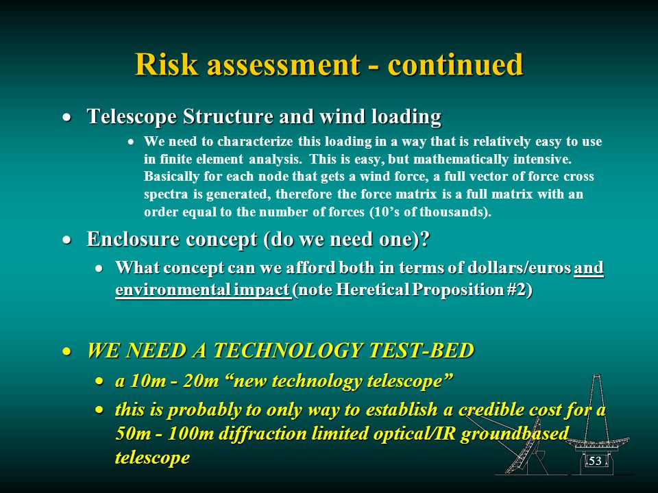 53 Risk assessment - continued  Telescope Structure and wind loading  We need to characterize this loading in a way that is relatively easy to use in finite element analysis.