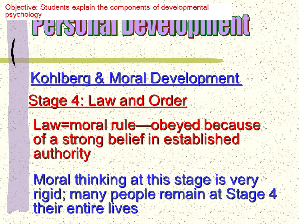 Kohlberg & Moral Development Stage 2: Marketplace Orientation Help someone if he helps you; hurt someone if he hurts you hurt someone if he hurts you Stage 3: Acute sensitivity to what other people want and think— other people want and think— want social approval; they apply want social approval; they apply rules of others literally & rigidly rules of others literally & rigidly Objective: Students explain the components of developmental psychology