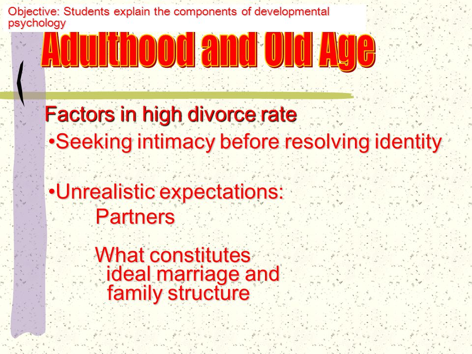 Challenging Erikson's sequence Trend of living together beforeTrend of living together before marriage marriage Struggles with identity issuesStruggles with identity issues Multiple marriagesMultiple marriages Divorce rate is 4 times Divorce rate is 4 times greater than that 50 years ago greater than that 50 years ago Cohabitation rather than marriageCohabitation rather than marriage Objective: Students explain the components of developmental psychology