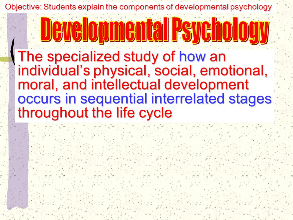 Freud & Psychosocial Development Rivalry established between child and parent of same gender for affections of parent of opposite gender Unconscious struggle struggle Objective: Students explain the components of developmental psychology