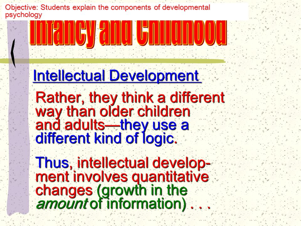 Intellectual Development Intelligence, or the ability to understand, develops gradually as the child grows.
