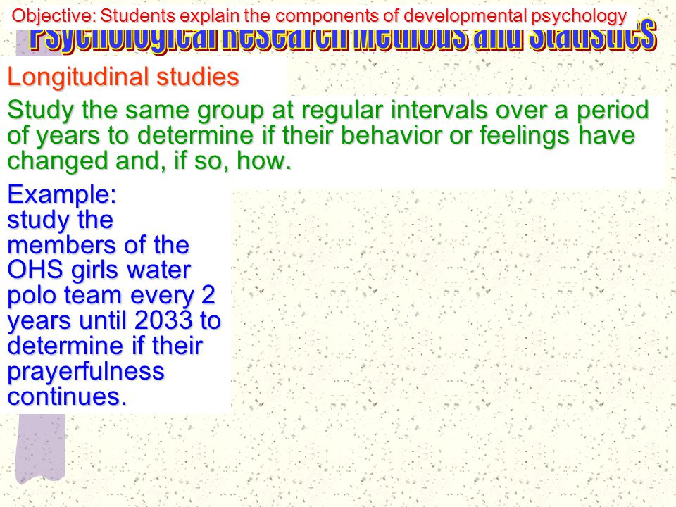 Longitudinal studies Study the same group at regular intervals over a period of years to determine if their behavior or feelings have changed and, if so, how.
