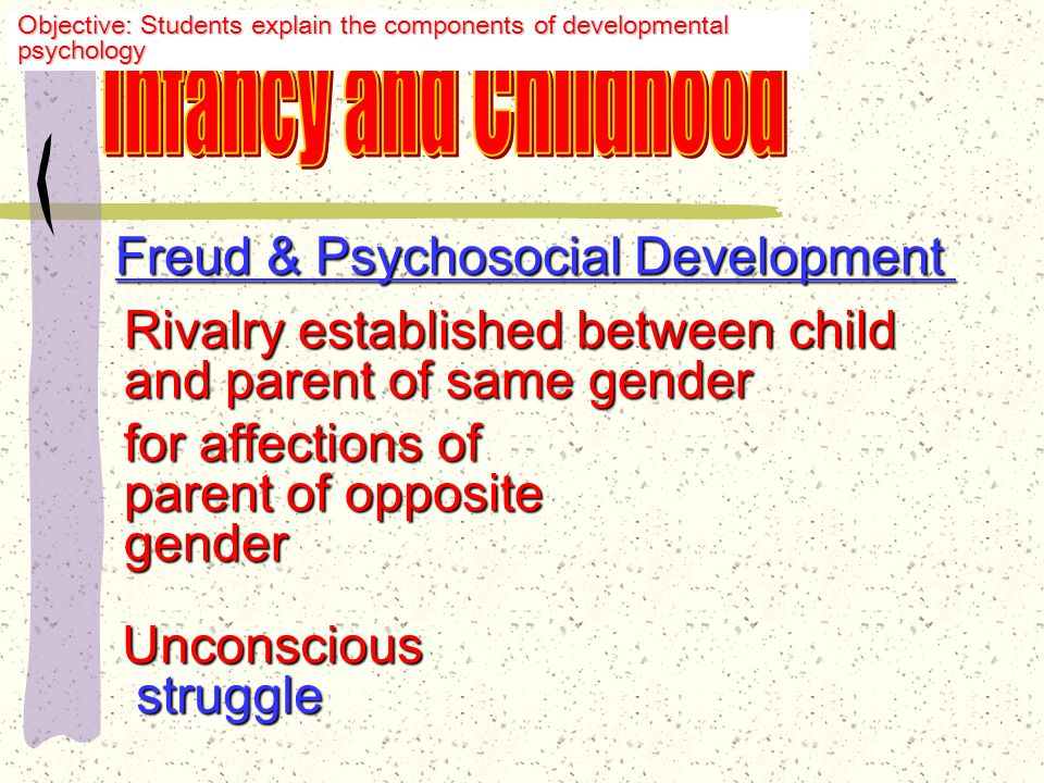 Freud & Psychosocial Development Stage 3: Phallic Stage Major conflict: ages 3-5 Child discovers he/she can obtain pleasure through genitals Child becomes aware of differences between genders Objective: Students explain the components of developmental psychology