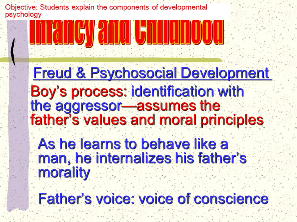 Freud & Psychosocial Development Son for mother: Oedipal conflict conflict Oedipus Rex Hates, but also fears, dad To prevent punishment (castration) the boy buries sexual feelings & tries to emulate the father Objective: Students explain the components of developmental psychology