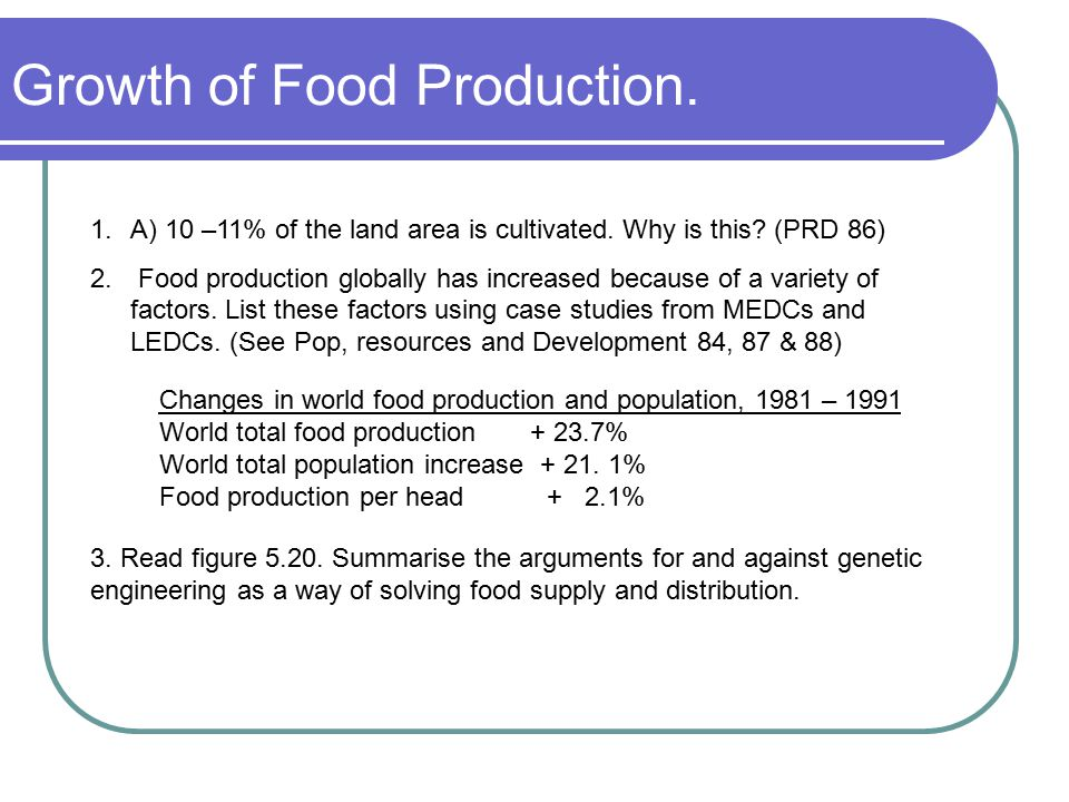 Growth of Food Production. 1.A) 10 –11% of the land area is cultivated. Why is this? (PRD 86) 2. Food production globally has increased because of a v