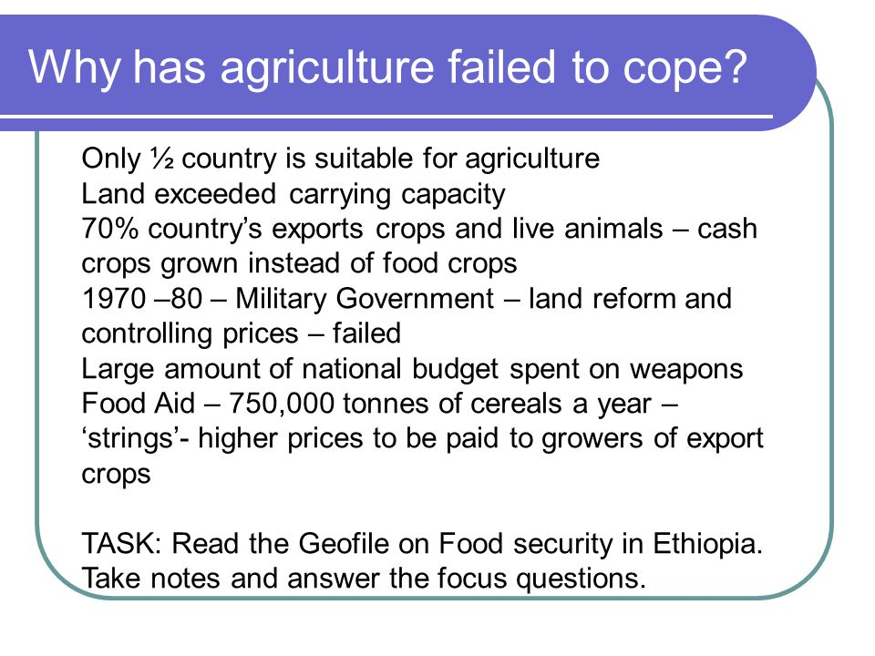 Why has agriculture failed to cope? Only ½ country is suitable for agriculture Land exceeded carrying capacity 70% country's exports crops and live an