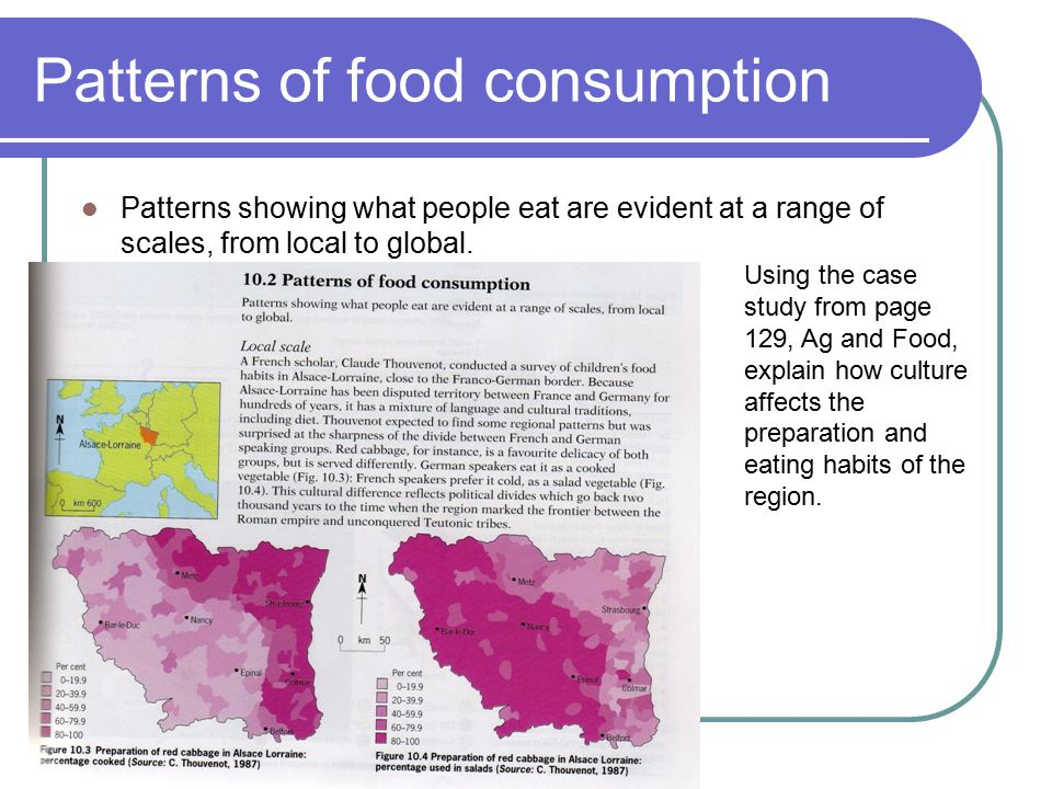 Patterns of food consumption Patterns showing what people eat are evident at a range of scales, from local to global. Using the case study from page 1
